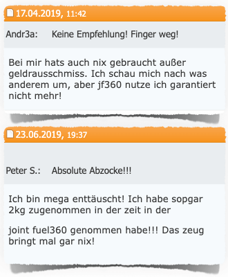 Joint Fuel 360 negative Erfahrungen Fitnessforum Kritik Bewertung Test 2019 Joint Fuel 360