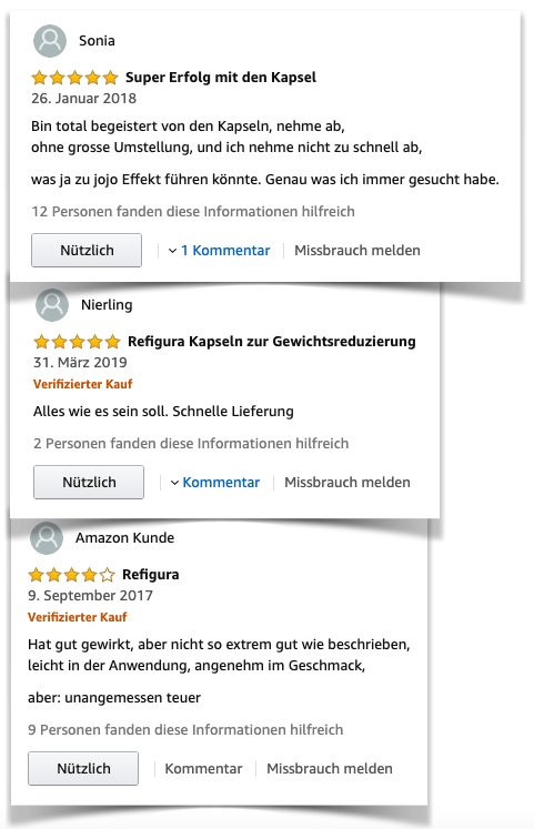 Refigura positive Bewertungen Amazon Test